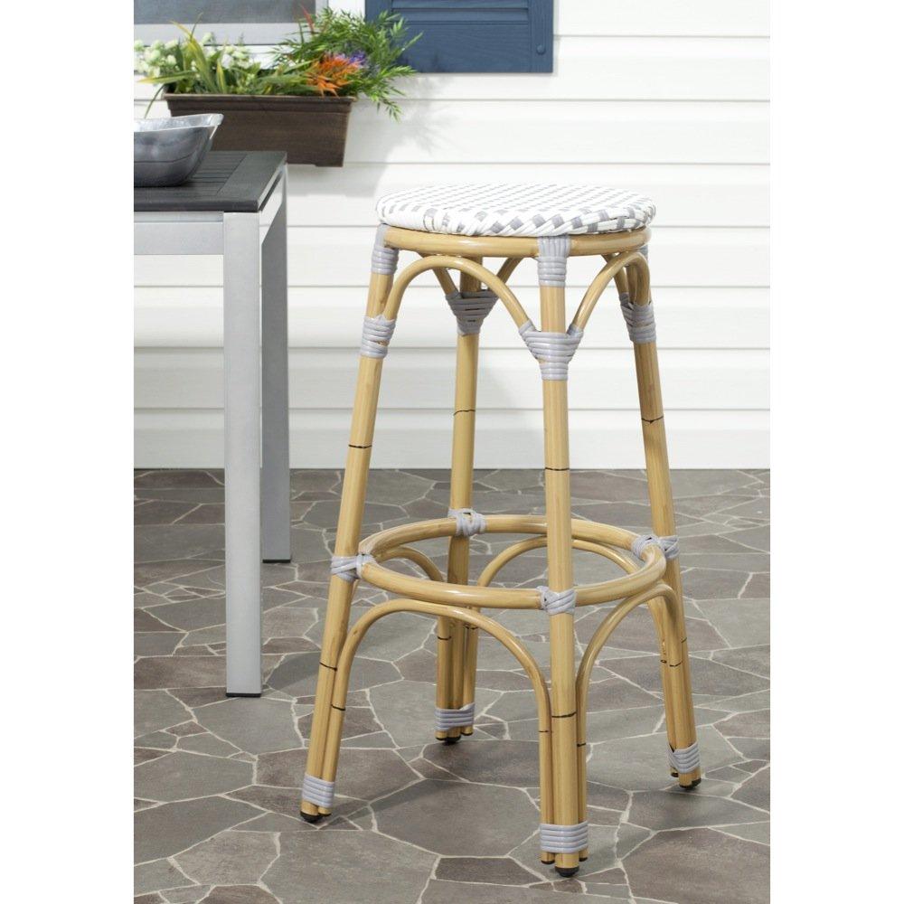 Safavieh Home Collection Kipnuk Grey&White Indoor/ Outdoor Barstool