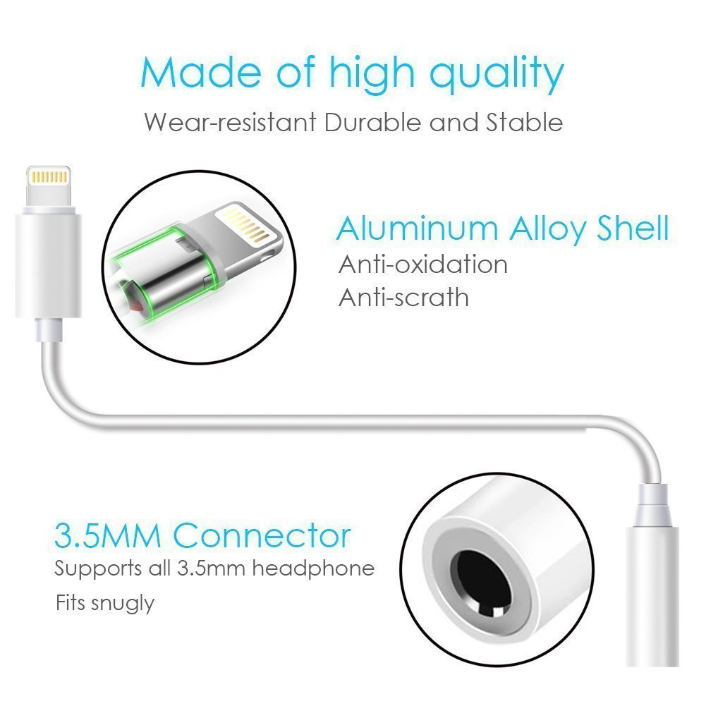 Lighting to 3.5 mm Headphone Adapter Aux Cable 2 Pack Play and Plug,Compatible with iPhone X//Xs//Xs Max//XR 7//8//8Plus iOS 10//11//12