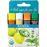 Badger - Classic Lip Balm Blue Box, Variety 4-Pack, with Aloe, Extra Virgin Olive Oil, Beeswax & Essential Oils, Natural…