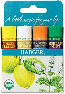 product image for Badger - Classic Lip Balm Blue Box, Variety 4-Pack, With Aloe, Extra Virgin Olive Oil, Beeswax & Essential Oils, Natural Moisturizing Lip Balm Variety Pack, Certified Organic, 0.15oz each - 4-pack