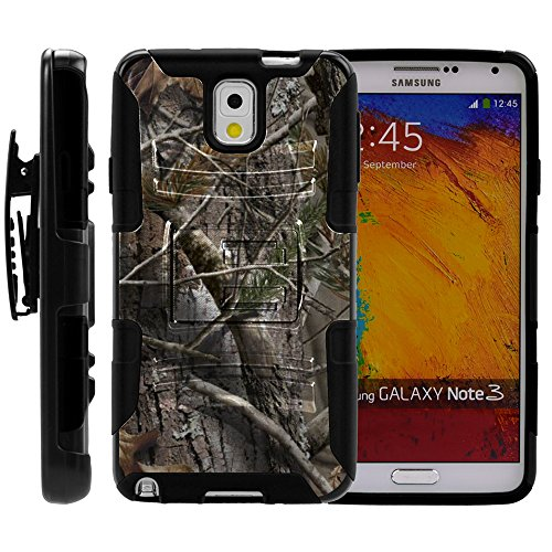 (MINITURTLE Case Compatible w/ Galaxy Note 3 Case, Galaxy Note 3 Holster, Two Layer Hybrid Armor Hard Cover w/ Built in Stand for Samsung Galaxy Note 3 III N900 (Verizon, Sprint, AT&T, T Mobile, US Cellular) from MINITURTLE | Includes Screen Protector Tree Bark Hunter Camouflage)