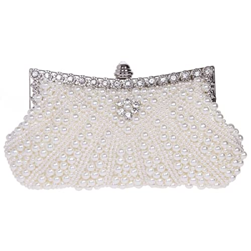 Ainemay Full Pearl Beaded Rhinestone Flower Elegant Evening Party Clutch  Purse Wallet Handbag- Ivory  Amazon.ca  Shoes   Handbags 2335676d92406