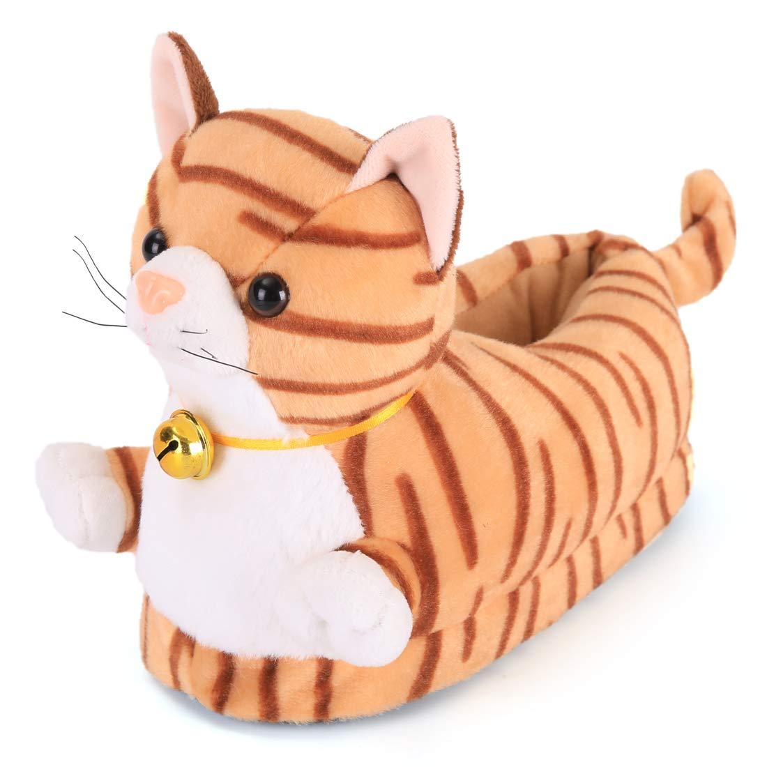 Sunnyday Toy Shoes Cute /& Soft Plush Slipper Novelty Cat Animal with Antiskid Foam Bottom