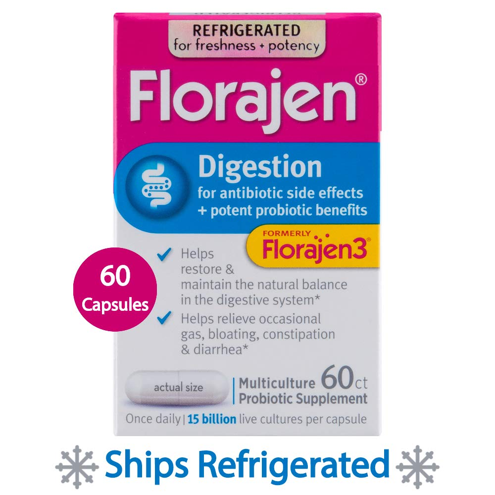 Florajen3 Digestion High Potency Refrigerated Probiotics | Restores Balance in Digestive System | for Antibiotic Side Effects | 60 Capsules by Florajen