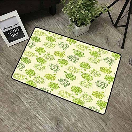 Artichoke Front Door mat Carpet Hand Drawn Fresh Vegetable Sketch Tasty Natural Food Organic Eats Artwork Print Machine Washable Door mat W19.7 x L31.5 Inch Lime Green