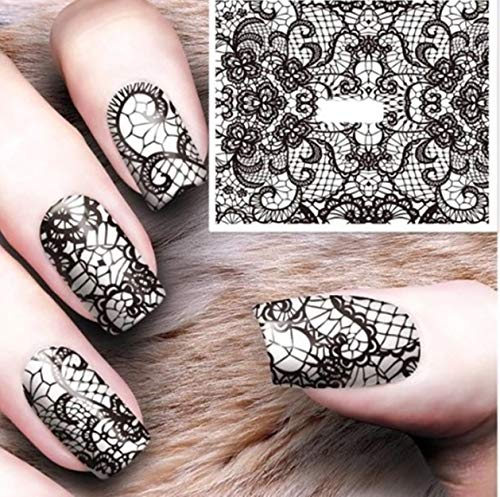 (1 Pcs Lace Tattoos Nails Art Sticker Water Transfer Decals Nail Stickers Girl Princess Acrylic Designs Cool Popular Gel Polish Stencil Adhesive Halloween Tool)