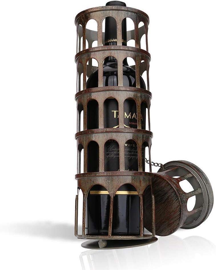 GOHHK Soporte de Botella de Vino de Torre de Metal Creativo, Retro, práctico, Hermoso Adorno Hecho a Mano, Estante de Vino, para decoración de Sala de Estar y Comedor