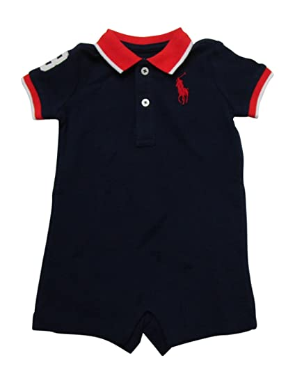 fe13ce111 RALPH LAUREN Baby Boys Mesh Polo Shortalls Onesie Outfit Big Pony (Navy 24  Months)  Amazon.in  Baby