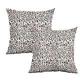 "Khaki home Coffee Square Funny Pillowcase Coffee Time Americano Square Pillowcase Covers Cushion Cases Pillowcases for Sofa Bedroom Car W 16"" x L 16"" 2 pcs"