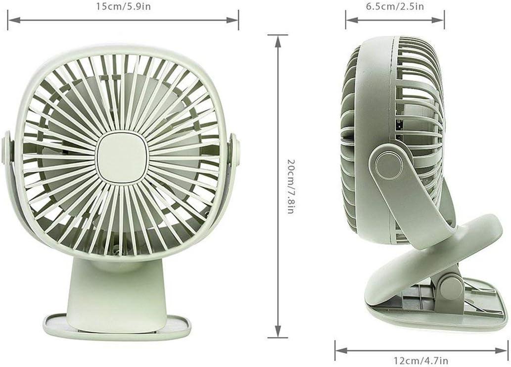 White JAKAGO Baby Stroller Fan Mini Desktop Fan with Led Light 360 Degree Rotation Clip Fan Rechargeable Small USB Fan for Office Bicycle Dorm