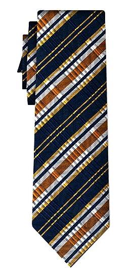 Desconocido corbata de seda rayada stripe v texture ochre navy ...