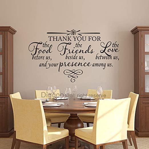 Amazon Com Thank You Wall Decal Bless The Food Before Us Vinyl Decal Dining Room Vinyl Lettering Love Between Us Vinyl Wall Art Black 29 H X 50 W Home Kitchen