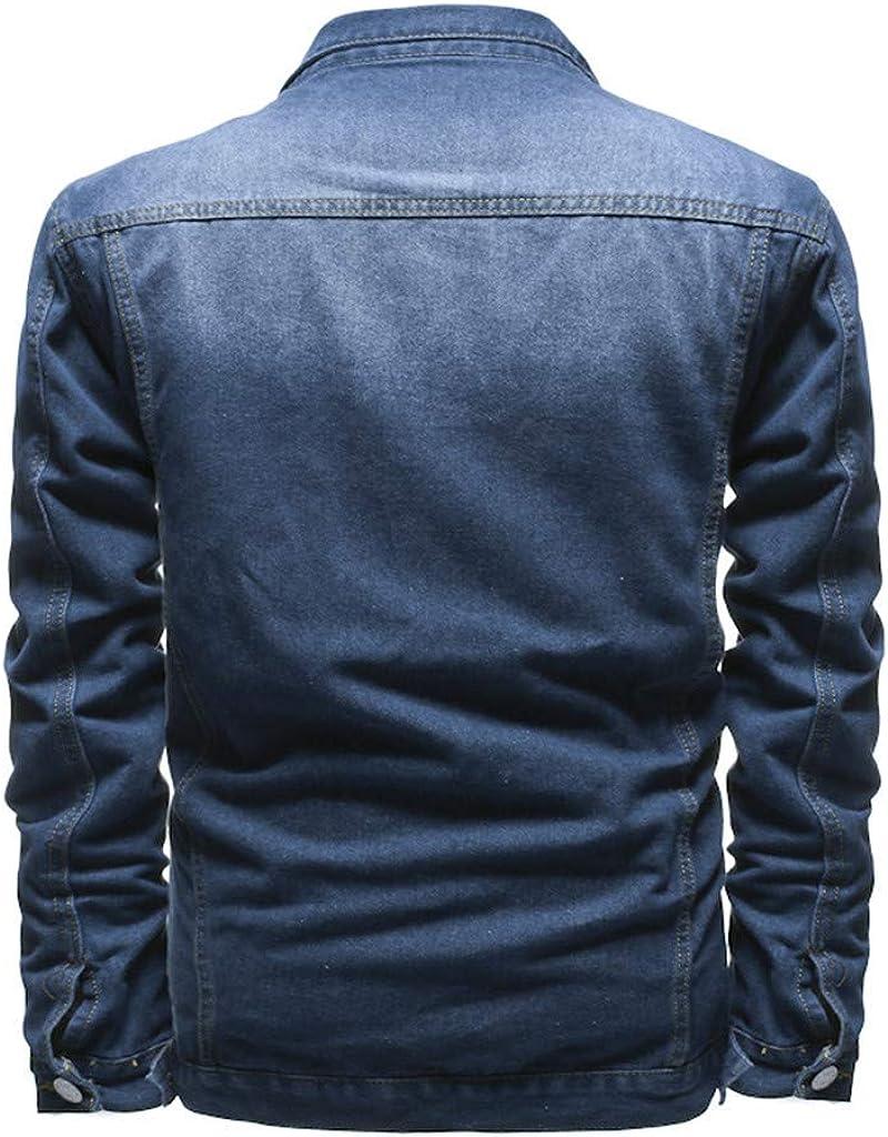 Herren Jeansjacke Casual Vintage Distressed Ripped Mode Slim Fit Jeans Tops Herren Langarm Loch Revers Tasche Mode Jeansjacke Retro Top Bluse Qinhanjia 2020 Lastest