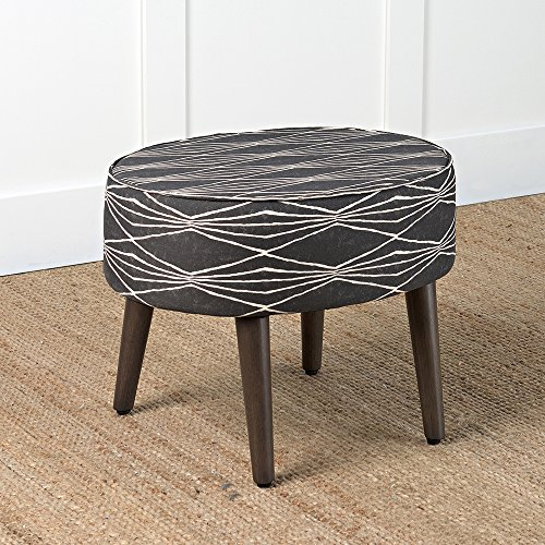 HomePop Mid Mod Oval Ottoman/Stool with Wood Legs, Dark Grey and Cream Triangle by HomePop (Image #2)