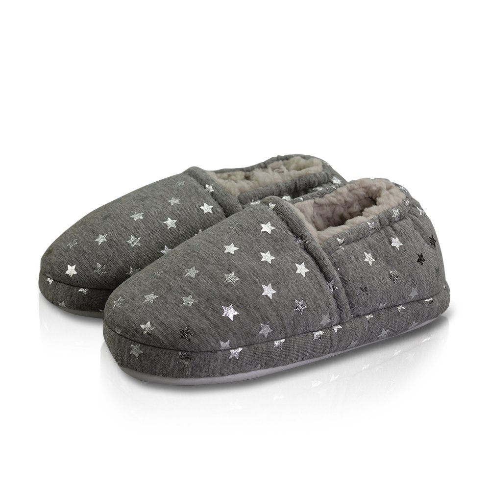 LA PLAGE Girl's Cute Comfortable Soft Cotton Slippers with Beautiful Star Size 12 US Little Kid Grey Star