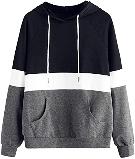 Women Hoodie Blouse Sweatshirt Long Sleeve Jumper Pullover Striped Top Shirts 1x