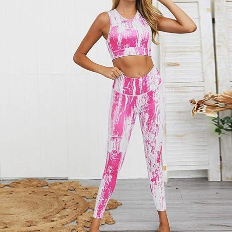 ZEEKYLY Conjunto de Yoga Rosa para Mujer Ropa Deportiva Gimnasio ...