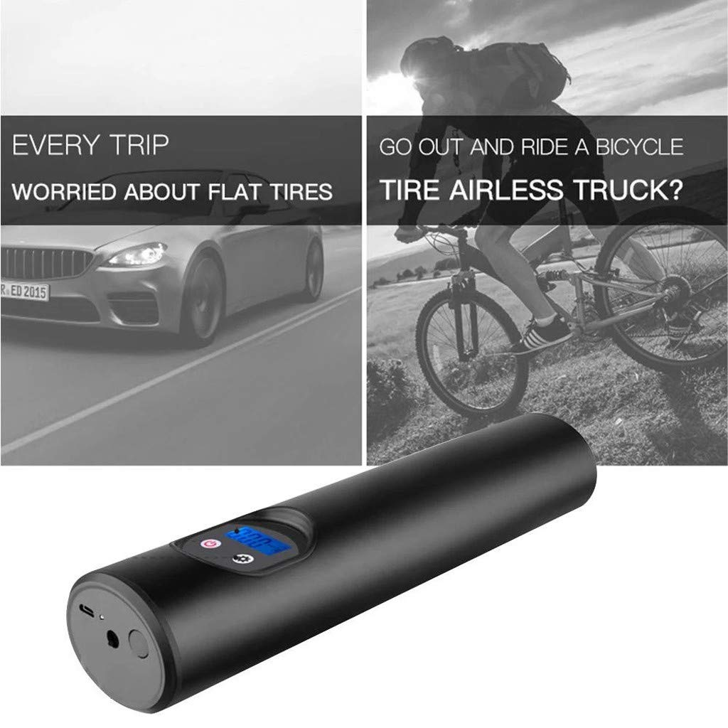 Flurries  150PSI Wireless Electric Car Bike Tire Inflator - Smart Air Pressure Pump - Mini Air Compressor - Sports Inflation Device Cicycle Basketball Balloon - USB Rechargeable LCD Display (Black)