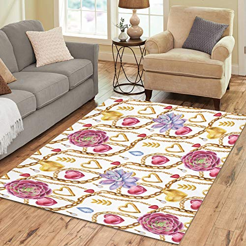 Price comparison product image Indoor Outdoor Rug Luxury Floral Jewelry Decor Custom Non-Slip Floor Area Rug Pad Mat Commercial Carpet for Bedroom Living Room 5'x7' Washable Rug