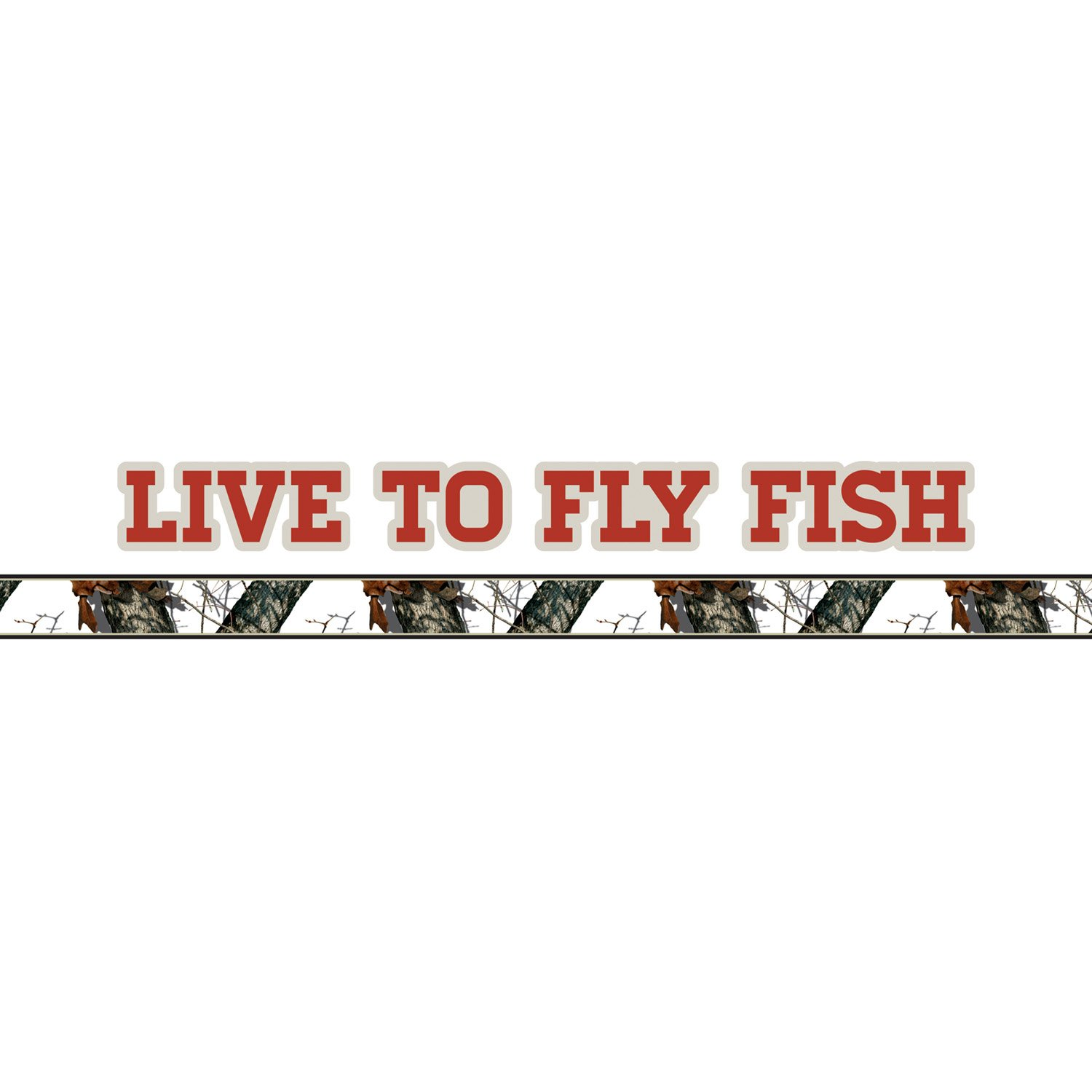 Mossy Oak Graphics 10012-FL-WR Winter Live to Fly Fish Logo with Camouflage Pin Stripe