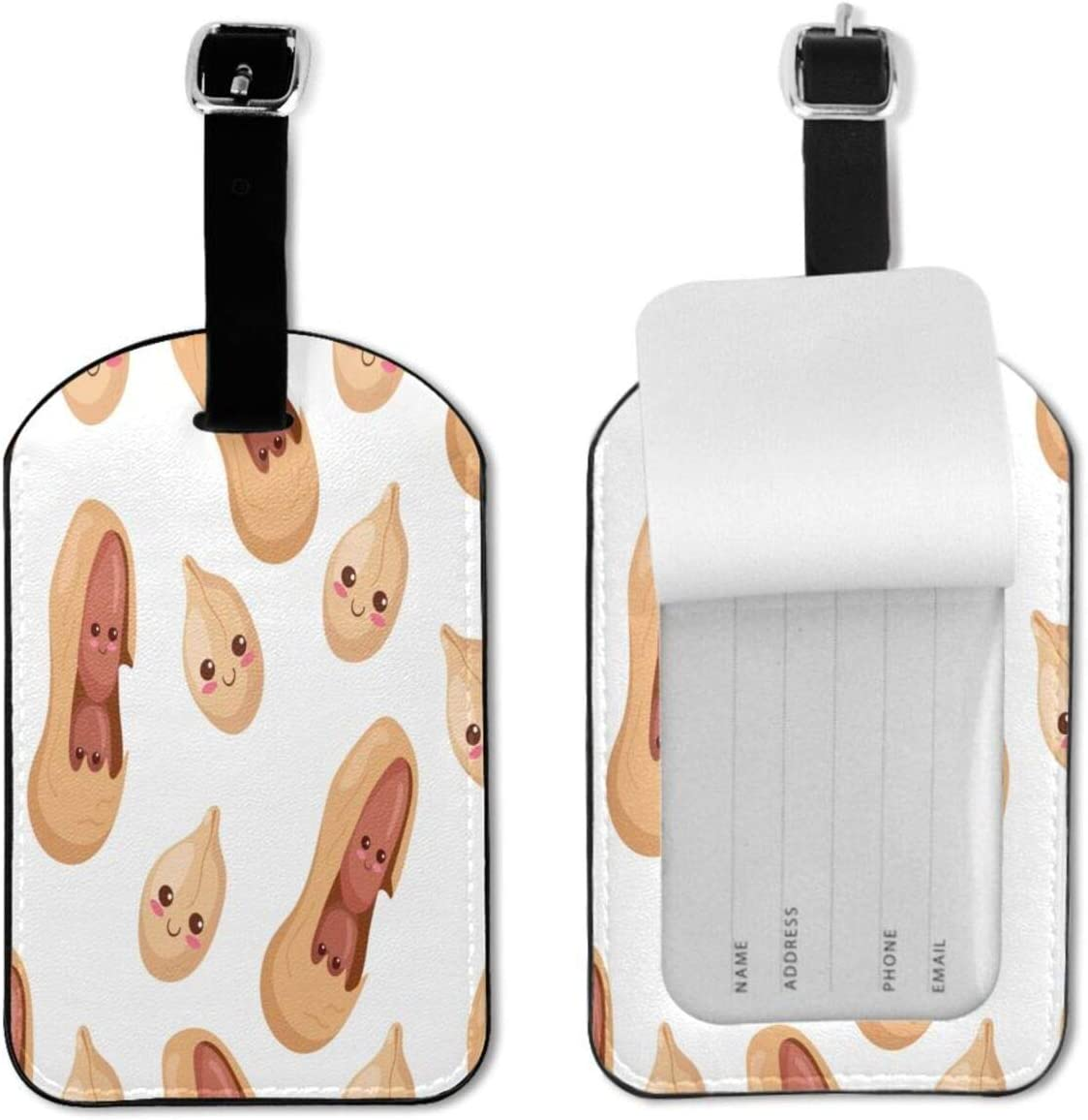 Luggage Tag Kawaii Peanuts Cute Food Funny Nuts Baggage Bag Tags for Women Men Suitcases Luggage Travel