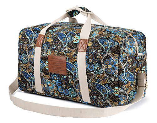 (Malirona Canvas Weekender Bag Travel Duffel Bag for Weekend Overnight Trip (Black Flower))