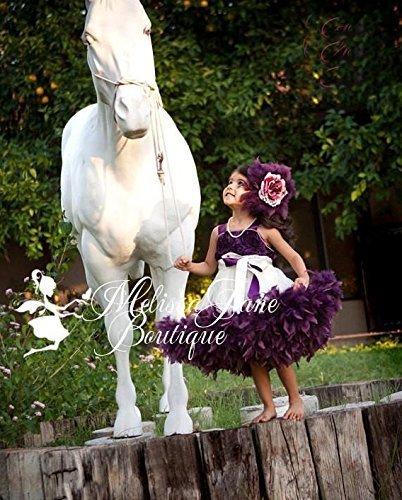 Plum Devine Girls Rosette Feather Dress by MelissaJaneDesigns