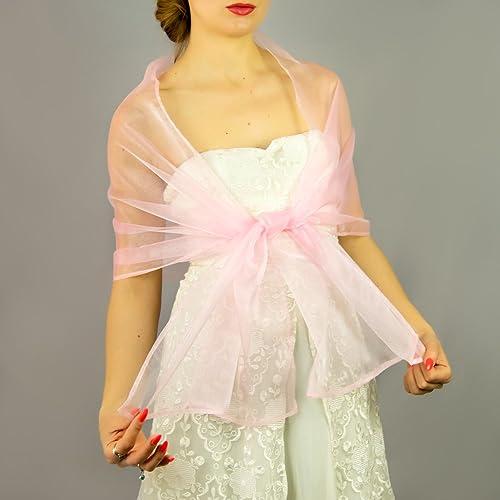 Chal organza color rosa melocoton novia boda novia para vestido de fiesta