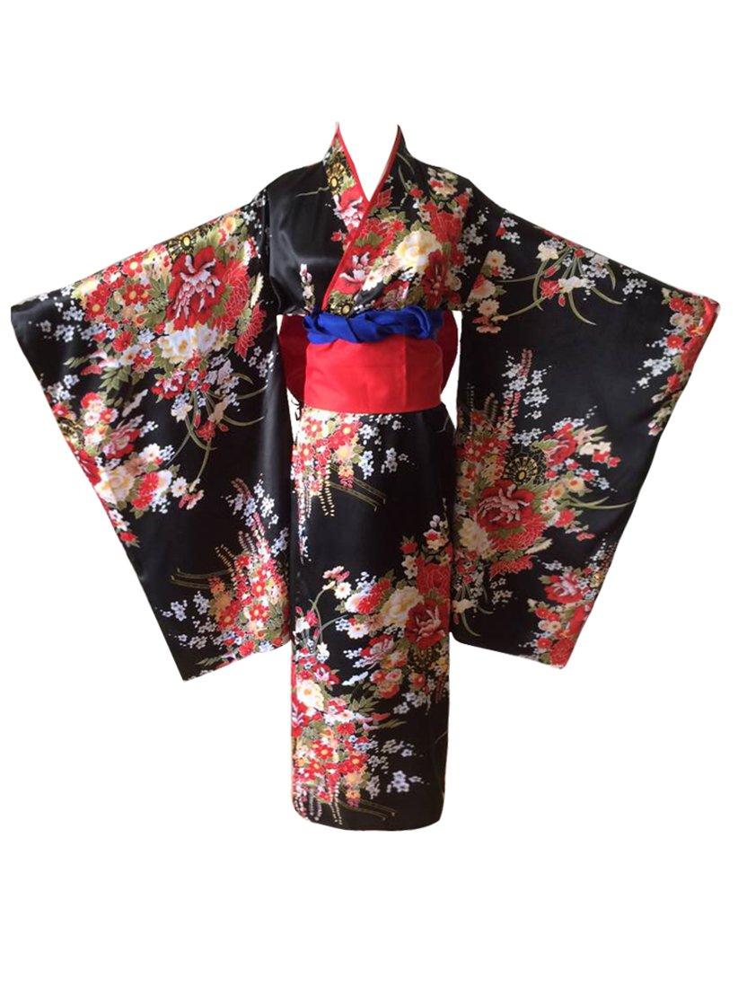 NSPSTT Donna Giapponese Lungo Seta Kimono Tradizionale Cosplay Costume Yukata