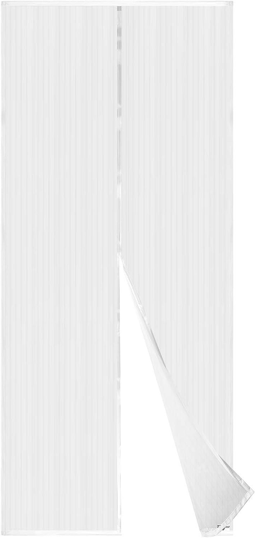 APALUS Cortina Mosquitera Para Puertas. Tejido Súper Fino Para Dejar Pasar El Aire.Cierre Magnético Automático Que Evita el Paso de Insectos. Fácil de ensamblar, Blanco, 92x212 cm )