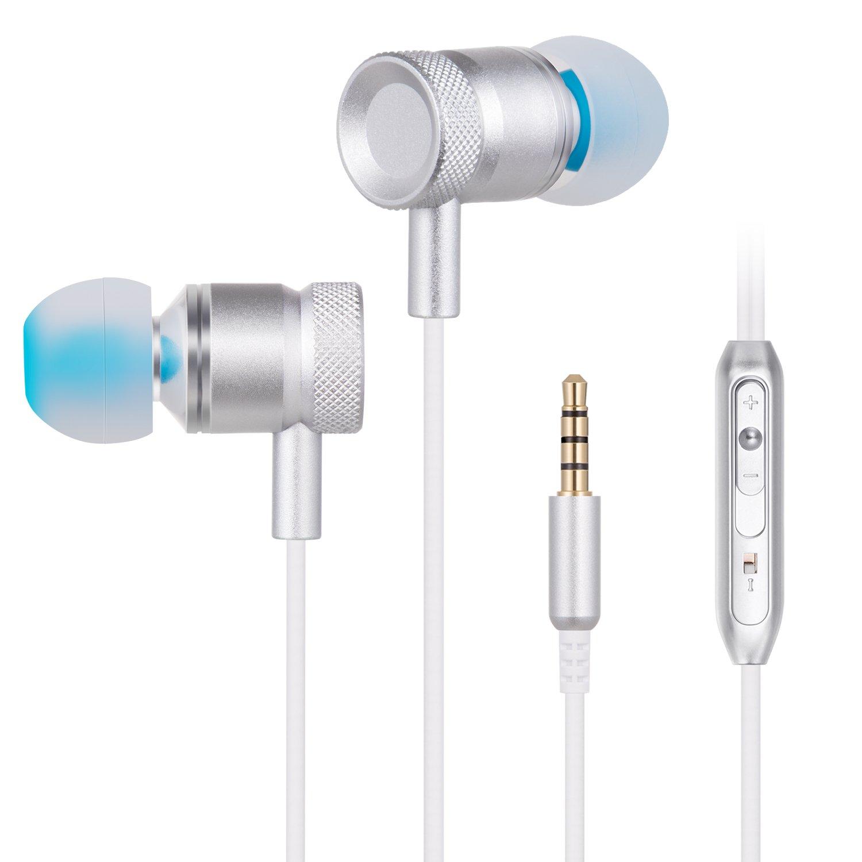 TOPLUS Kopfhörer In Ear Kopfhörer mit 3.5mm Klinkenstecker (Silber)