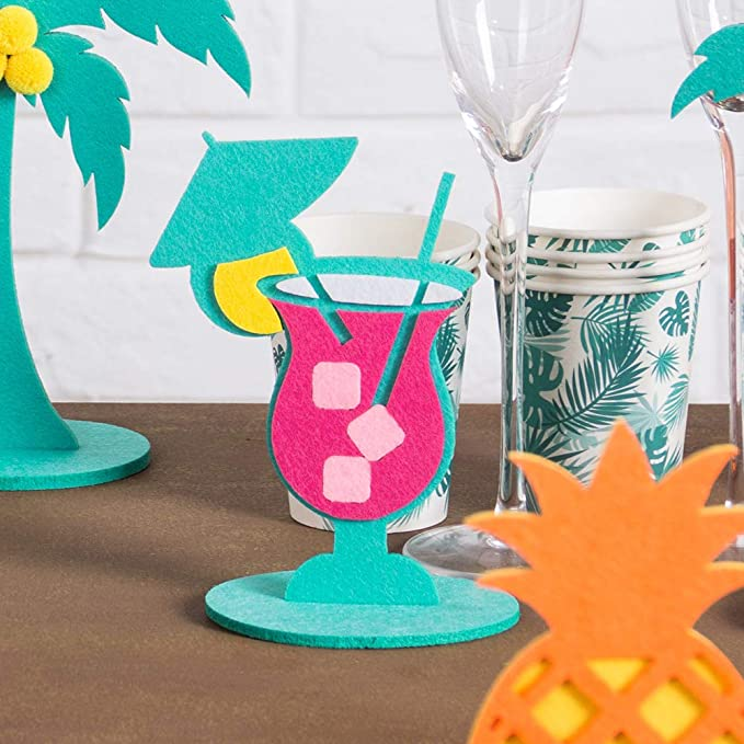 Fuchsia Green Yellow Summer Party Centerpiece for Table Decoration Felt Flamingo Pineapple Cactus Palm Leaf Shape Tropical Summer Birthday Baby Shower Hawaiian Beach Party Supplies SUNBEAUTY