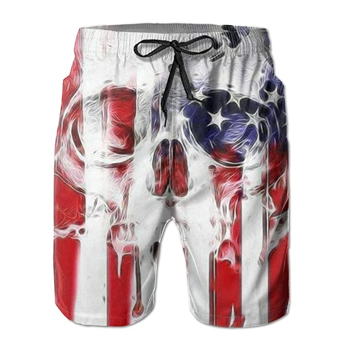 c5ff524ba3 Image Unavailable. Image not available for. Color: American Flag Skull Mens  Boardshorts ...