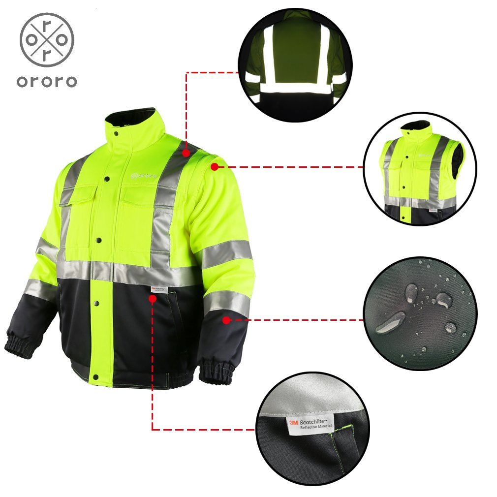 ororo Men's Heated Jacket ANSI/Isea Class 2 High Visibility Safety Bomber Jacket With Battery Pack(XL) by ororo (Image #5)