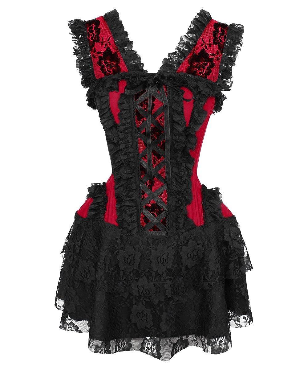 Vintage Goth Damen Kleid rot rot VG-19540-M