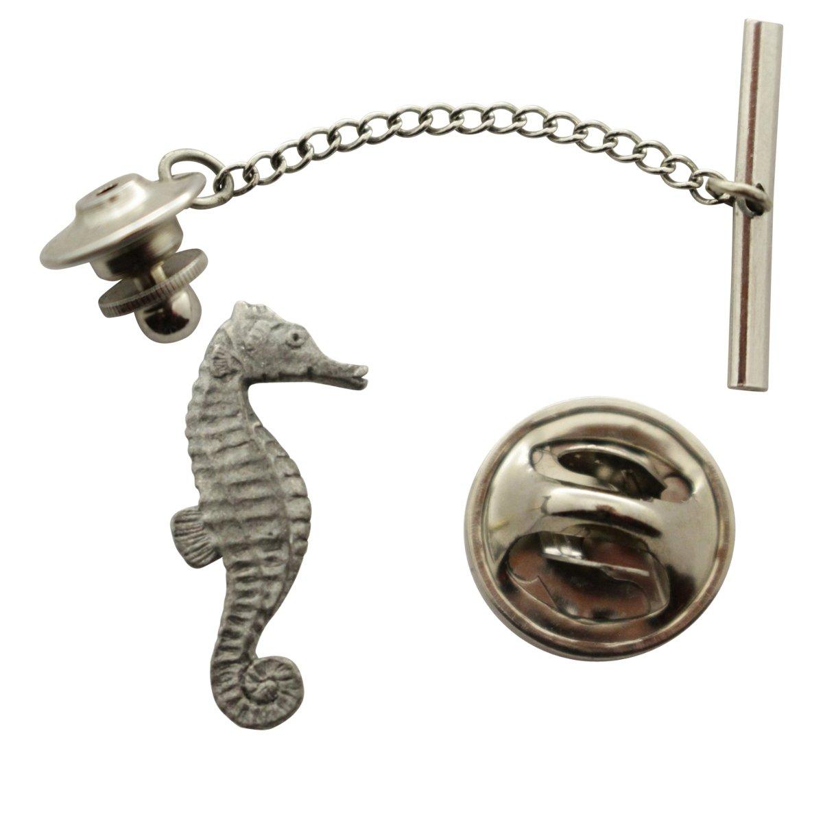 Seahorse Tie Tack ~ Antiqued Pewter ~ Tie Tack or Pin ~ Sarah's Treats & Treasures