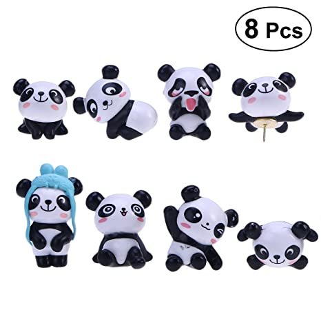 Stobok 8 Pcs Push Pin Set Panda Puntine Da Disegno Cartoon Pin