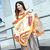 Women's Gift Scarf New Retro Style Silk Scarf Spring Summer Autumn/Winter Girls Leisure Travel Neckerchief Beach Sun Protection Anti-UV Scarf Lady Long Shawl 90 180cm (Color : 05)