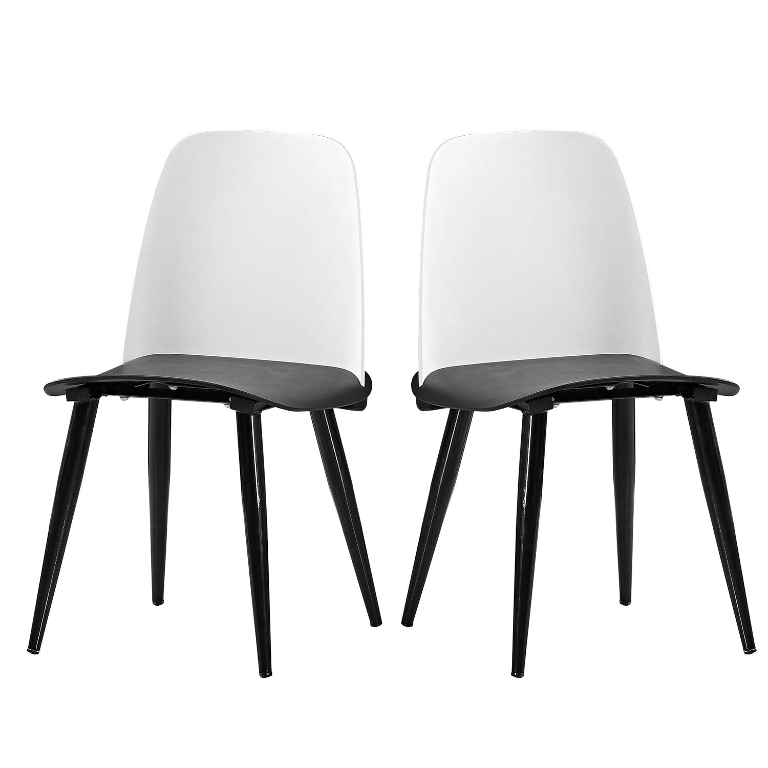 Soges Dining Room Chairs, Set of 2, Living Room Chairs, Kitchen Lounge Chairs, Heavy Duty Modern Home Chairs Set, Black and White BZ-1986-001-BW