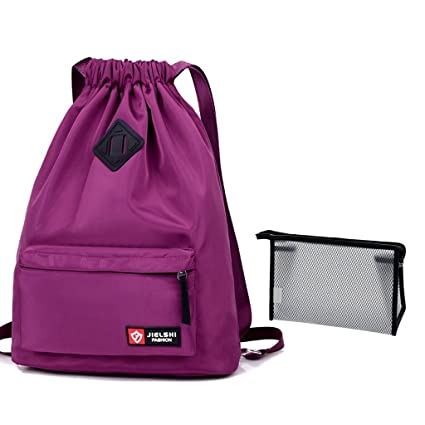 Unisex cordón bolsa impermeable bolsa con cuerda mochila ...