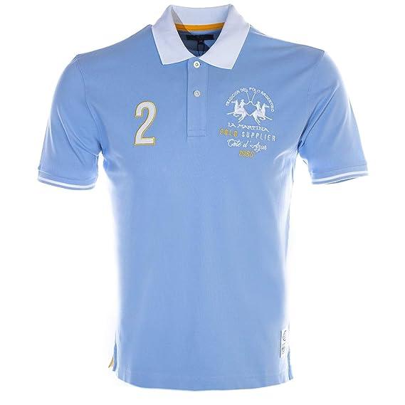 7d6f3a625 La Martina Cote D'Azure Polo Shirt in Sky Blue: Amazon.co.uk: Clothing
