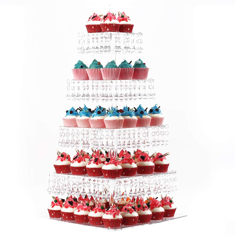 YestBuy Pendant Drill 5 Tier Square Acrylic Cupcake Stand 1 pc/Pack