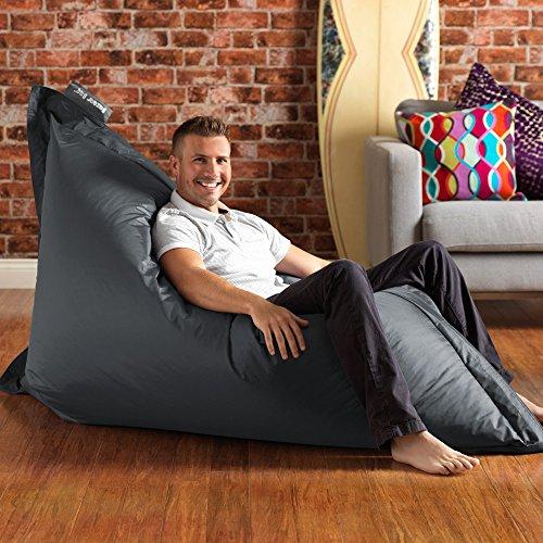BAZAAR BAG ® - Giant Beanbag SLATE GREY - Indoor & Outdoor Bean Bag - MASSIVE 180x140cm - GREAT for Indoor & Garden