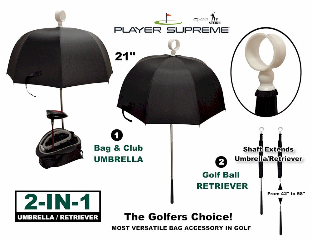 Golf Bag Club Umbrella with Attached Golf Ball Retriever