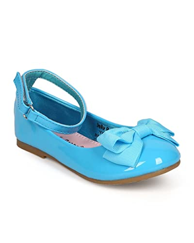 6ae7054d6 Alrisco Girl Patent Round Toe Ankle Strap Bow Ballet Flat (Toddler) EC10 -  Royal