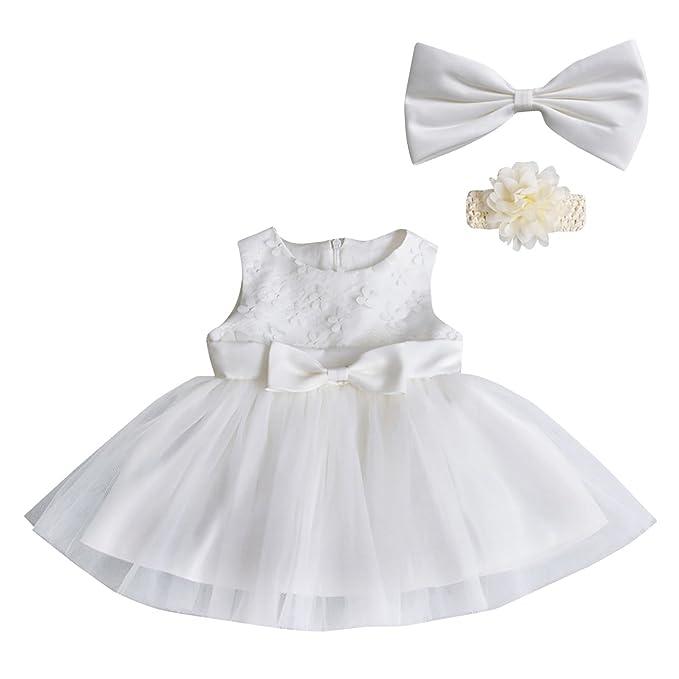 Happy Cherry - Vestido Floral Fiesta Prinecesa Dress Encaje Tutu para Bebés Recien Nacido Falda para