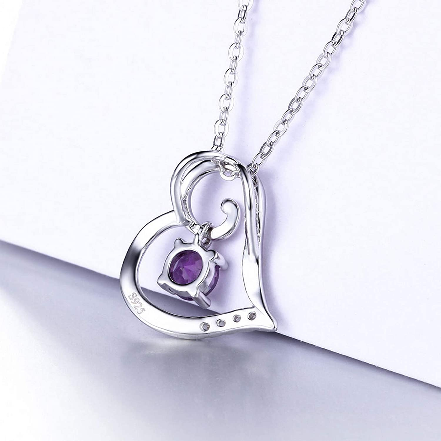 CS-DB Silver 0.32 ct Heart Amethyst Gemstone Pendants Necklaces For Womens