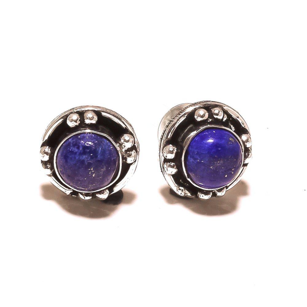 Fantasy Handmade Art Jewelry Blue Lapis Sterling Silver Plated 5 grams Stud// Earring 12 mm
