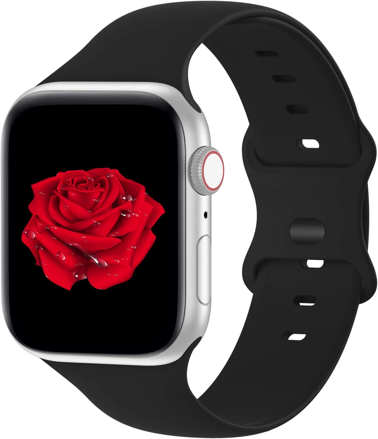 Bandiction Compatible with Apple Watch Series 3 38mm Series 5 40mm iWatch Bands 42mm 44mm, Soft Silicone Sport Replacement Strap Compatible for iWatch SE Series 6 5 4 3 2 1, Sport Edition,Black