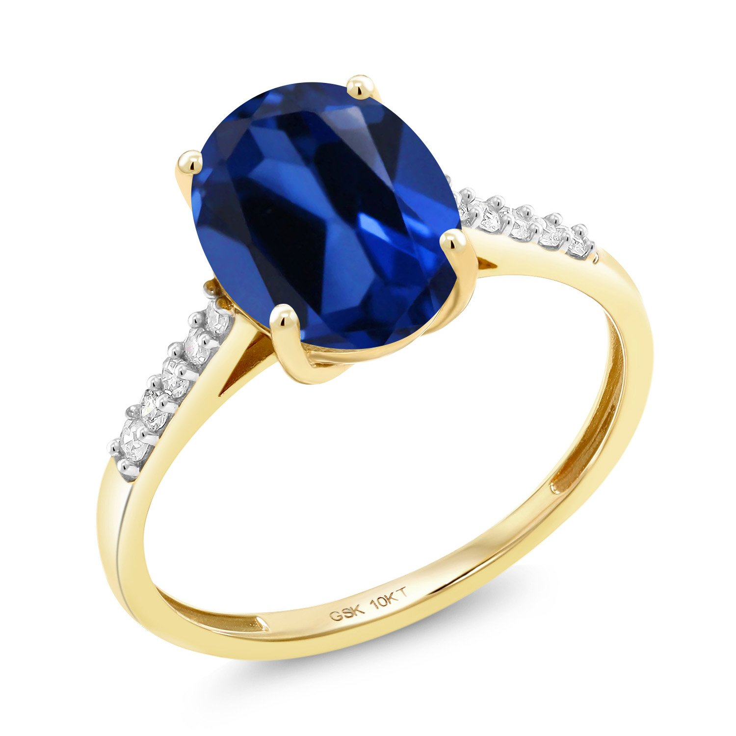 Gem Stone King 10K Yellow Gold 3.42 Ct Oval Blue Simulated Sapphire White Diamond Ring (Size 8) by Gem Stone King